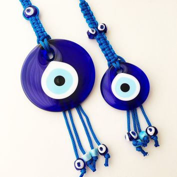 Large evil eye wall hanging, blue macrame wall hanging, evil eye beads, evil eye wall decor