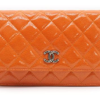 Chanel Quilting Patent Leather Wallet On Chain Shoulder Bag Orange 7398