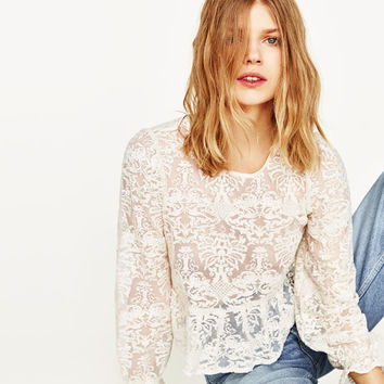 EMBROIDERED ORGANZA TOP - NEW IN-WOMAN | ZARA United States
