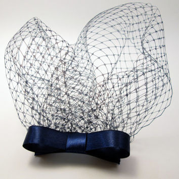 Navy Blue Vintage Inspired Birdcage Veil Blusher Bow Fascinator - Something Blue - Bridal Netting Comb -