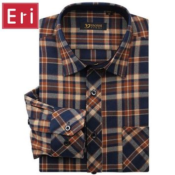 2017 New Brand Fashion Flannel Shirts Mens Classic Long Sleeve Plaid Checked Regular Fit Social Shirt Men Chemise Homme X460