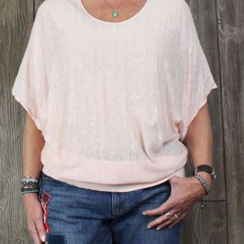 Nice Eileen Fisher Tunic Top 3x size Light Pink Dolman Short Sleeve Plus Linen Blouse