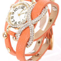 Orange Faux Leather High Polish Metal Infinity Pendant Watch Bracelet