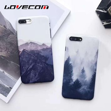 LOVECOM Vintage Mountain Forest Clouds Print Phone Case For iPhone 8 8 Plus Soft IMD Back Cover Landscape Scenery Coque