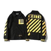 Off White Yellow Striped Lapel Jacket S--XL