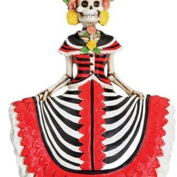 Senorita Wearing Red Dress Statue, Day of the Dead Skull - T76810