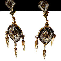 Vintage Damascene Style Dangly Earrings,Made in Spain Black and Gold Articulated Clip Ons for Non-Pierced Ears,Spanish Drop Earrings,