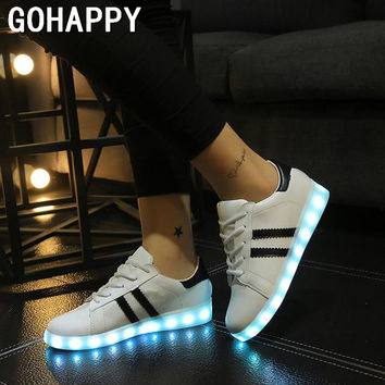[Free Shipping] High quality 7 Colors LED Luminous Women&Men USB Charging Lights Shoes