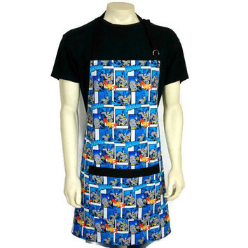 Batman Apron for Men , Adjustable with Pocket , Comic Book Kitchen Decor ,