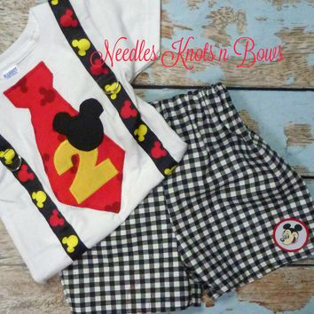 Boys Mickey Mouse Birthday Outfit, Boys First Birthday, Mickey Mouse First  or Second Birthday Outfit