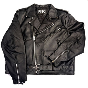 First Manufacturing Co. 'Superstar' Black Leather Racing Biker Jacket