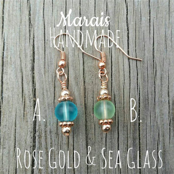 Rose gold & sea glass earrings - stunning bright rose gold color findings with frosted sea glass beads in green and blue