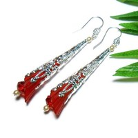 Long Dangle Earrings Crystal Pearl Silver Fashion Jewelry Red Trumpet