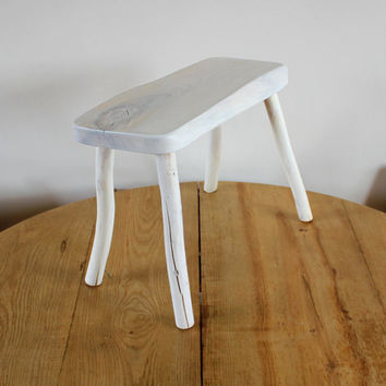 Wooden furniture - Small wood stool - Small portable wood bench for kitchen or living room - home gifts - white bench - Scandinavian design