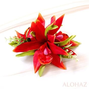 Red Orchid Burst Hawaiian Flower Hair Clip