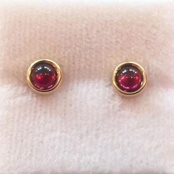 4mm Cabochon Stud Earrings With Garnet
