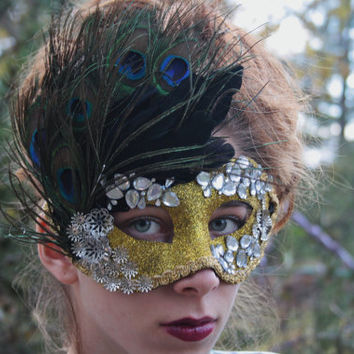 Masquerade Ball Mask Gold Masquerade mask Black Feather mask Peacock feather gold mask Mardi Gras mask bridal mask Ready to ship JUNO