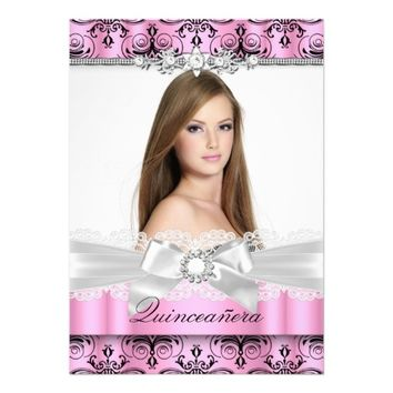 Pink Damask & Bow Photo Quinceanera Invitation
