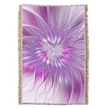 Pink Purple Flower Passion Abstract Fractal Art Throw Blanket