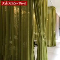 Pastoral Solid Color Linen Sheer Tulle Curtains For Living Room Bedroom Curtains For Window Modern Voile Curtains Fabric Cortina