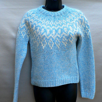 Hand Knit 100% Lambswool Ski Sweater by American Eagle- Thick Knit Fair Isle - Nordic Style - Light Blue / Aqua - Womens Size Small (S)