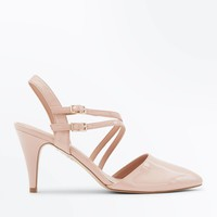 Nude Patent Asymmetric Strap Pointed Courts | New Look