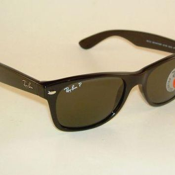 Ray Ban New WAYFARER Black Frame RB 2132 901/58 Glass Polarized Green 55mm Large