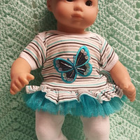 "Baby Doll Clothes to fit 15 inch doll ""Butterfly Beauty"" Will fit Bitty Baby®  doll outfit dress leggings footless sandals handmade L5"