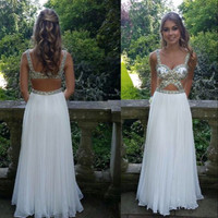 New Prom Dresses Spaghetti Straps White Chiffon Beading Crystal Two Pieces Long Prom Dresses Party Evening Dresses vestidos