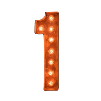 """12"""" Number 1 (One) Sign Vintage Marquee Lights"""