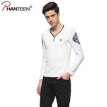 V-Neck Long Sleeve Single Breasted Design Man Knit Cross Print Slim Fitness Pullovers Casual Sweater Fashion Men Brand Clothing