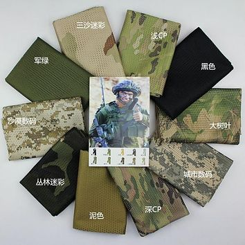 Tactical Military Paintball camouflage Sniper Cover Multi Scarf Veil Face Mesh Scarves CS Shawl Desert Wrap Head band
