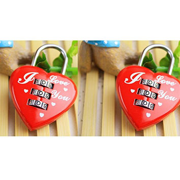 DGBM 2 Packs Zinc Alloy Material Red Safety Luggage Heart Shaped Padlock Lock (Red Heart)