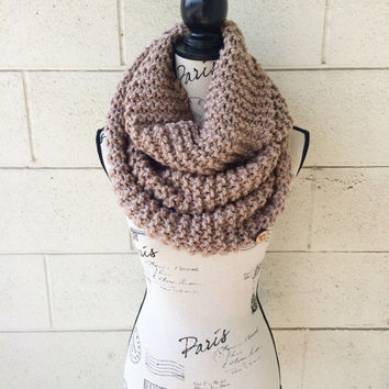 Tan camel extra large bulky creamy super soft knit infinity circle scarf