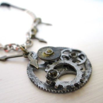 Mens clock parts everyday neck- jewelry - Mens necklace- Mens casual neck accessorie - Clock jewelry- Steampunk necklace- Steampunk jewelry