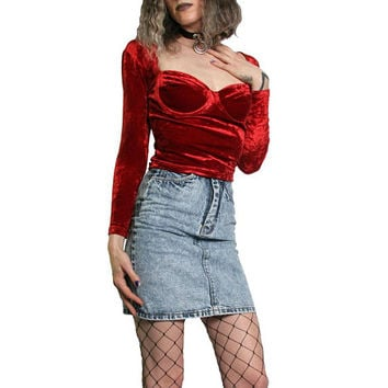 Vintage Red Velvet Sexy Shirt - Bustier Underwire Swoop Neck - Off The shoulder - Crushed Velvet - 90s Velvet Shirt - Velvet Top - Blood Red