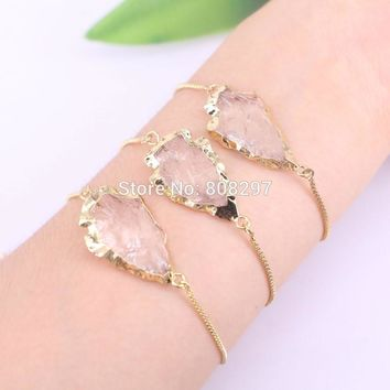 5Pcs Gold Color Arrowhead Clear Stone Beads charm adjustable chain Macrame bracelet