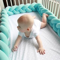 1.5M-2.0M Baby Bed Bumper Newborn Crib Pad Protection Cot Solid Baby Weaving Plush Baby Bedding Accessory Infant Room Decoration