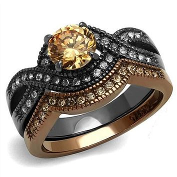 WildKlass Stainless Steel Ring IP Light Black & IP Light Coffee Women AAA Grade CZ Champagne