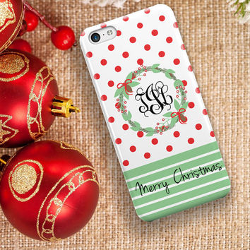 Monogram Christmas Iphone 6 Plus case, Holiday Iphone 6s case, Xmas Iphone 6s Plus case, Merry Christmas Iphone 5c case  (1334)