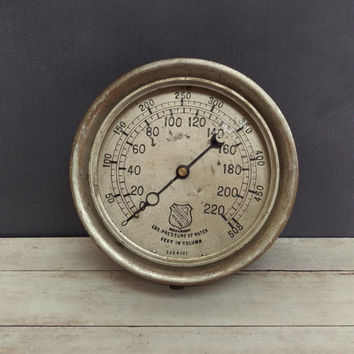 Ashcroft Mfg Steam Gauge/ Industrial Decor/ Industrial Gauge/ Antique Gauge/ Ashcroft Gauge/ New York Antique/ Steampunk/ Rustic Wall Decor
