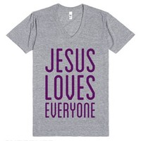 Jesus Loves Everyone-Unisex Athletic Grey T-Shirt