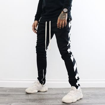 Ari Stripe Track Pants (Black)