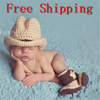 Newborn Baby Infant Hand-knit Cartoon Style Photo Prop 0-6Month Tan  Hats Pentagram Pattern Shoes (Size: 0-6m, Color: Tan) = 1958004036