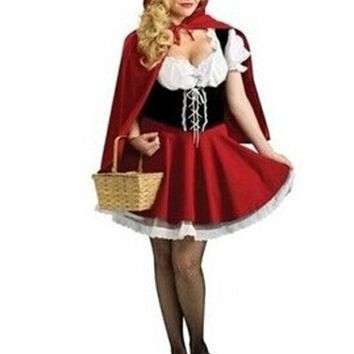 Moonight New Fairy Tales Little Red Riding Hood Costume Women Halloween Party Fancy Dress S 4xl