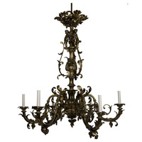 1STDIBS.COM - Remains Lighting - A six-light cast-bronze Rococo chandelier