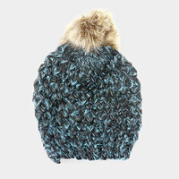 Women's Blue Two Tone Cable Knit Pom Fur Pom Beanie Cap Hat
