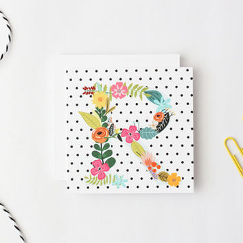 Polka Dot Gift Enclosure Cards Personalized Birthday Tags Small Custom Cards Flower Monogram Black White Polka Dot Cards Tags / Set of 25