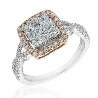 White and Rose Gold Diamond Square Frame Engagement Ring 1ctw