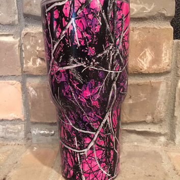 Muddy Girl Camo personalized 30 oz Custom Hydro Dipped Rtic Tumbler - Duplicate of Yeti Rambler